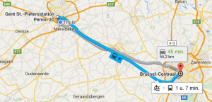 Google Maps: IC-trein Gent-Brussel